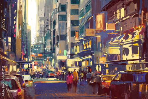 Juliste colorful painting of people walking on city street,cityscape illustration
