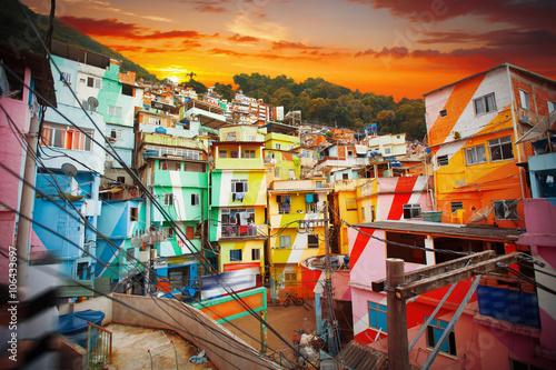 Fotobehang Rio de Janeiro Rio de Janeiro downtown and favela