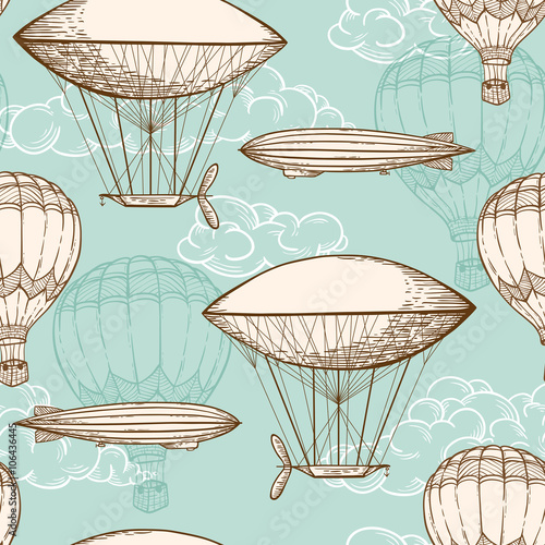 Cotton fabric Vintage seamless pattern with air balloons