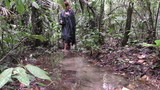 Tourist Woman Wearing Specific Clothing In Amazonian Flooded Terrains