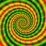 Double Spiral in Green and Orange / An abstract fractal image with a spiral design in green and orange, yellow and red. - 106493280