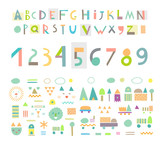 Fototapety Fun and cute paper cut alphabet and figures. Isolated. Vector