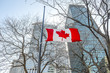 Flags of Canada  in Montreal downtown, Quebec, Canada