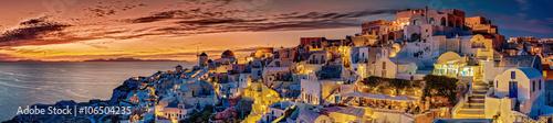 Papiers peints Santorini Santorin Panorama Abendstimmung