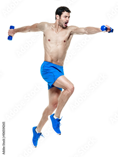 Fototapeta man  fitness exercises isolated