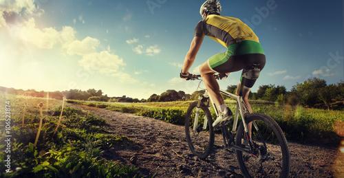 Poster, Tablou Sport. Mountain Bike cyclist riding single track