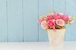 Pastel Artificial Pink Rose in flower pot