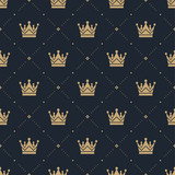 Fototapety Seamless pattern in retro style with a gold crown on a blue background. Can be used for wallpaper, pattern fills, web page background,surface textures. Vector Illustration.