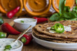Постер, плакат: Tortilla chapati with sauce Raita chilli Indian cuisine