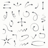 Fototapety Sketch arrow set. Vector illustration for your business and education design. Hand drawn Elements for design