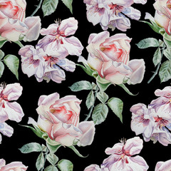 Seamless pattern with flowers. Rose. Blossom. Watercolor.