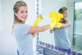 Woman cleaning the mirror