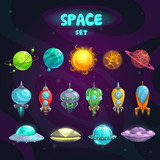 Fototapety Space cartoon icons set