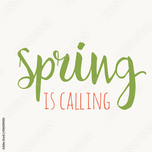 Fototapeta It's spring time lettering greeting card. Special spring sale typography poster. Vector illustration