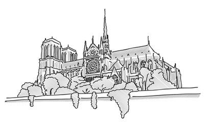 Notre Dame Paris, Hand Drawn Sketch