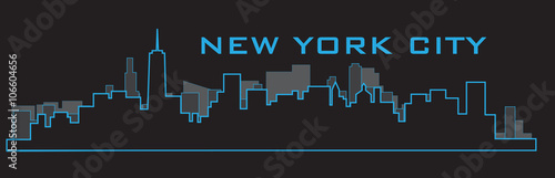 Outline of New York City skyline. Vector illustration eps 10. - 106604656