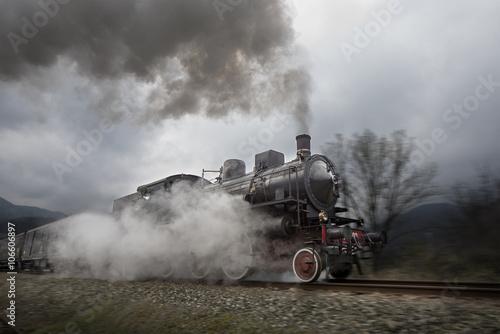 Stary pociąg parowy