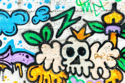 Graffiti wall urban art. Abstract creative drawing fashion colors on the walls of the city.