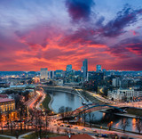 Fototapety beautiful cityscape of Vilnius during sunset, Lithuania.