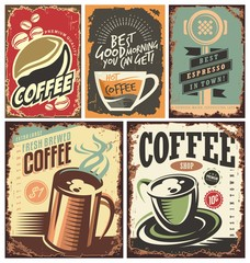 Set of retro coffee tin signs and posters