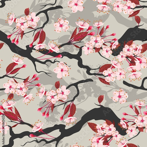 Cotton fabric Blooming cherry seamless