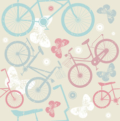 Seamless pattern with retro bicycles and cute butterflies
