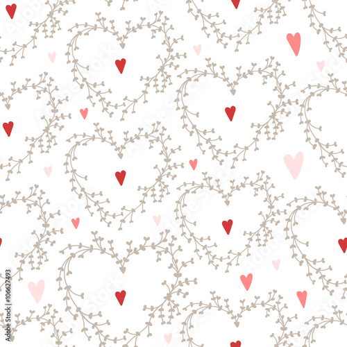 Cotton fabric Vector hand drawn pattern with wreaths and red hearts,Good for Valentine's Day cards, wedding invitations, etc.