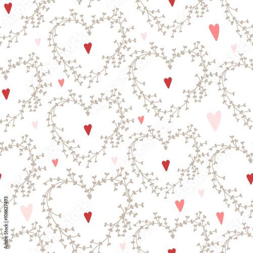 Materiał do szycia Wektor ręcznie rysowane wzór z wieńce i czerwone serca, dobre dla kartki na Walentynki, zaproszenia ślubne, itp.