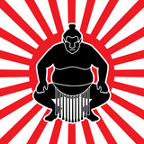 Sumo silhouette, designed on sunshine background graphic vector.