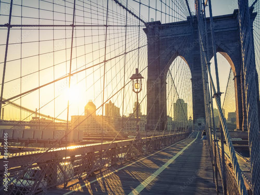 fototapeten brooklyn bridge new york nikkel. Black Bedroom Furniture Sets. Home Design Ideas