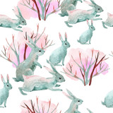 Rabbit in winter. Watercolor seamless pattern