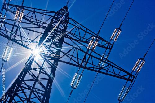 Stromleitung mit Sonne Poster