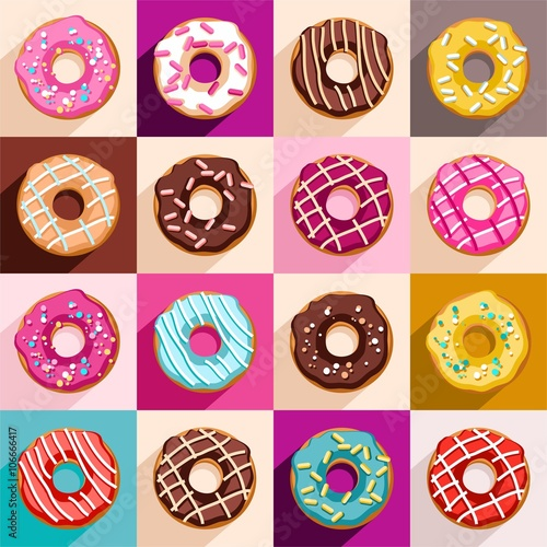 Cotton fabric Donuts, vector clip art.
