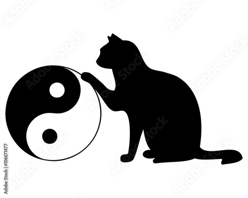 katze mit yin und yang symbol stock image and royalty free vector files on pic. Black Bedroom Furniture Sets. Home Design Ideas