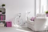 Fototapety Girly interior with white, stylish bike