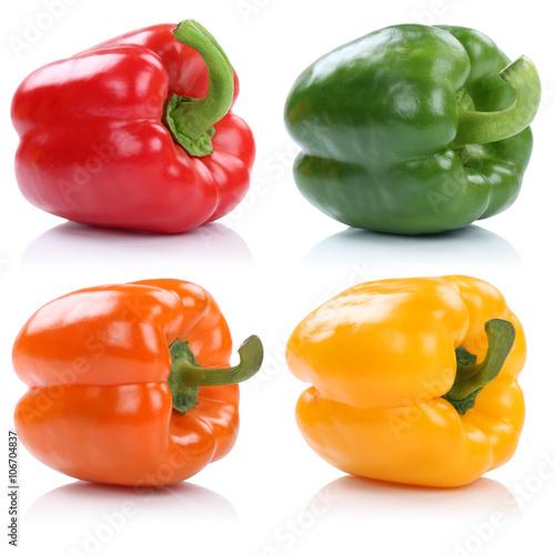 Sammlung Paprika Paprikas Gemüse Freisteller freigestellt isoli