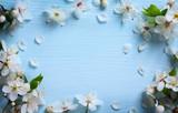 art Spring floral border background with white blossom - Fine Art prints