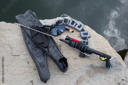 Equipment for underwater hunting near the pond on the for Pond supplies near me