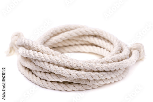 Twisted thick rope on white Poster