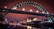 Newcastle Tyne bridge and Gateshead quayside at night - 106740845