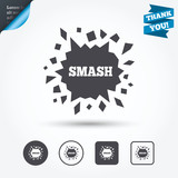 Cracked hole icon. Smash or break symbol. - 106743883
