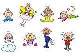 variety cute stick baby figures