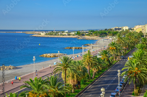Waterfront of Nice, view from above. Cote d'Azur. Mediterranean resort. France.