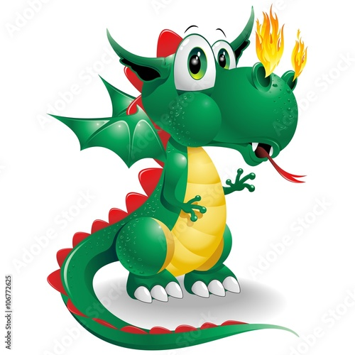 Foto op Canvas Draw Baby Dragon Cute Cartoon