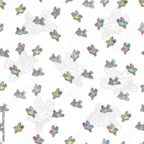 Fototapeta The seamless vector pattern with decorative doodle birds