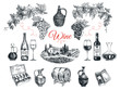 Vector set of vine products.