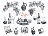 Vector set of vine products. - 106778655
