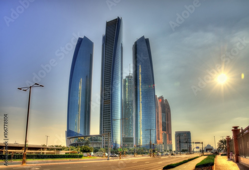 Foto op Canvas Abu Dhabi Cluster of skyscrapers in Abu Dhabi, UAE