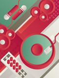 Designed modern DJ music banner. Vector illustration.