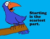 Business cartoon about challenges, 'starting is the scariest part'. - 106783623